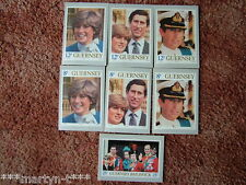 Guernsey Stamp cards No 2. Royal Wedding, 1981. 7 card set Mint Condition.