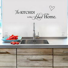 New PVC Black Wall Sticker Quote Kitchen+Home Heart Mural Art DIY Decal Decor