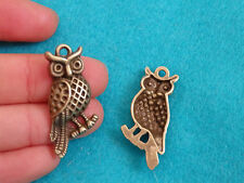10 owl pendant vintage charm antique bronze jewelry making  wholesale UK craft -