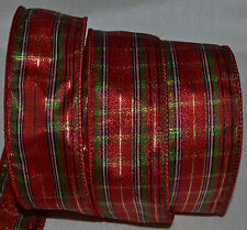 Wired Ribbon~Christmas Jazz Metallic Red Plaid~Green~Gold~Holiday~Wreath~Bow