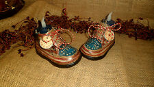 PRIMITIVE 4th of July VTG BABY SHOES AMERICANA STAR SHELF SITTER COUNTRY DECOR