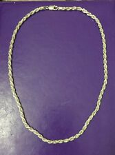 "Sterling Silver 22"" Rope 4mm Chain Necklace HEAVY Italy NEW NOS VINTAGE"