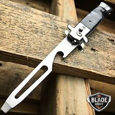 Automatic Push Button Folding Bottle Opener Switchblade Knife Looking Black -W
