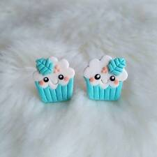 Funny Christmas Blue Cupcake Muffin Pudding Girls Gifts Food Earrings Jewelry
