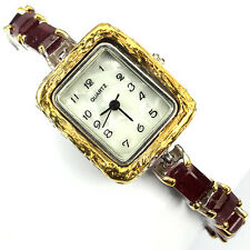 Sterling Silver 925 Stunning Emerald Cut Genuine Pink Ruby Handmade Watch 7 Inch