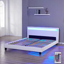 FULL Bedroom Bed Frame Double Size Leather Headboard LED Furniture