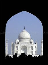CULTURAL LANDSCAPE BUILD TAJ MAHAL AGRA INDIA CROWD SILHOUETTE POSTER ART BB751A
