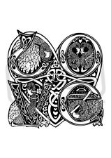 A6 'Celtic Love Birds (Large)' Unmounted Rubber Stamp (SP001964)
