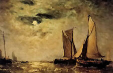 Oil painting paul jean clays - shipping off the coast in the moonlight on canvas