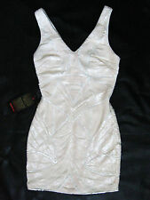 BEBE IVORY FULLY SEQUIN DOUBLE V DRESS NEW NWT $179 LARGE L