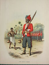 1905 ANTIQUE MILITARY PRINT FIRST MADRAS PIONEERS ~ BRITISH IMPERIAL FORCES