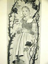 Sulamith Wulfing 1932 BEAUTIFUL SURROUNDED by  ROSES & THORNS Art  Print Matted