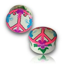 """PAIR OF 5/8"""" INCH 16MM HAND PAINTED WOOD PLUGS TUNNELS PLUG PEACE SIGN"""