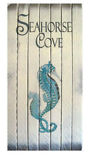COASTAL WALL ART - SEAHORSE COVE WOODEN SIGN - NAUTICAL DECOR