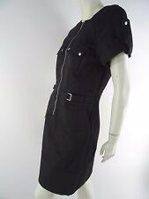 Kenneth Cole New York Black Dress size 4 Short Sleeve Zip Front