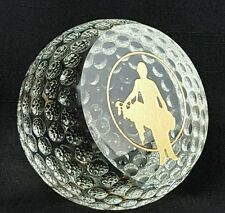 Kusak Art Cut Crystal Sliced Golf Ball, Painted in Gold, 80mm, FATHER'S DAY Gift