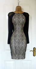 ~ELLE~ Black Lace Pencil Sheer Mesh Midi Bodycon Evening Party Dress 8 10 12