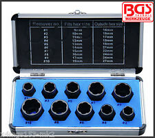 """BGS - Special Twist Extraction Socket 10 Pc Set, 9 - 19 mm - 3/8"""" Drive - 20210"""