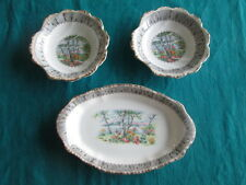 SET OF 3 ROYAL ALBERT SILVER BIRCH DISHES