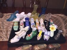 Porcelain Shoe 27 ANTIQUE RARE GLASS LOT GERMANY RADNOR SOUVENIR FRANCE Knight