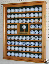Golf Ball Display Case Wall Cabinet with Hole in One plate, Oak Finish, GB07-OA