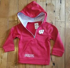 NWT kids KNIGHTS APPAREL NCAA Wisconsin Badgers red/white hoodie jacket size 3T