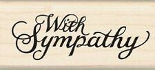 Inkadinkado Wood Mounted Rubber Stamp WITH SYMPATHY Text SCRIPT 60-00421