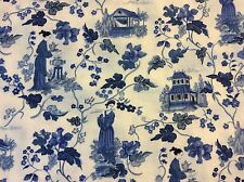 "Porcelain blue Asian Chinese flower lady pagoda cotton fabric, 45""w, BTY"