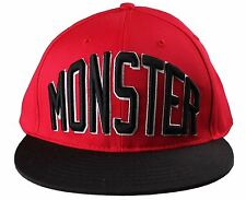 Entree Lifestyle Monster Red Black Flat Brim Snapback Baseball Hat Cap NWT