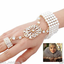 The Great Gatsby Stretch Bracelet Ring Set Pearl Rhinestone Crystal Gold Tone