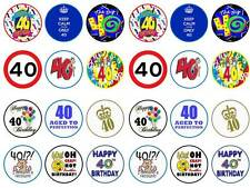 fortieth 40th happy birthday boy dad man  fairy cupcake toppers party edible x24
