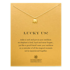 "Dogeared Lucky Us Happy Elephant Gold Dipped Reminder 16"" Necklace"