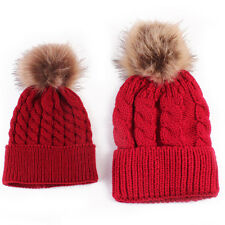 Fur Pom Bobble Hat 2PCS Mom&Newborn Baby Boy Girl Winter Knit Beanie Crochet Cap
