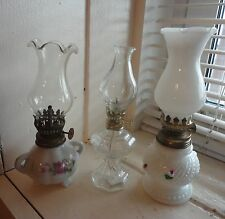 "VINTAGE White OIL LAMPS (LOT OF 3) 7-1/2"" & 6-3/4"" tall"