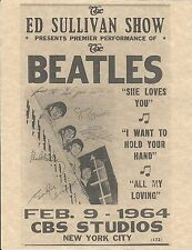The Beatles Ed Sullivan Show Feb 9 1964 CBS Studios   Concert Poster   Reprint