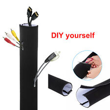 "60"" Neoprene Cable Management Sleeve Wrap Wire Cord Hider Cover Organizer System"