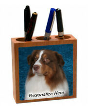 Australian Shepherd   red color   ( 4 )   Personalized  Pencil and Pen Holder