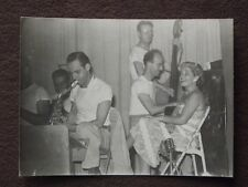 BAND MEMBERS PLAYING SAXAPHONE, STAND UP BASS & PIANO Vtg 1950's PHOTO