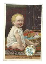 Old Trade Card Clark's Spool Cotton Thread Baby Sewing Basket Mother's Treasures