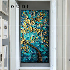GUDI-Large Hand-painted Oil Painting Abstract Art Decoration Flowers Unframed
