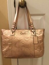 "Coach Embossed ""C"" Gold Leather East-West Gallery Handbag - New w/o tags"