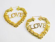 New 14k Karat Gold Plated Bamboo Heart Love Hoop Earrings