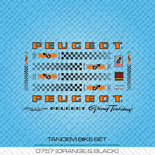 Peugeot Tandem bicyclette decals-transfers-autocollants-orange & noir-set 757