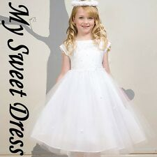 White Satin First Communion Dress 4 - Flower Girl Wedding Pageant Party Easter