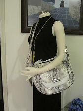 NWT Coach 19325 Kristin Python Embossed Leather Round Satchel Silver/Grey $598
