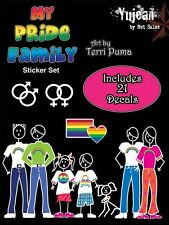 (#173) 21-pack PRIDE FAMILY window decal set (Y105) Gay Lesbian Rainbow Pride