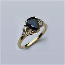 1 1/2ct Pear Shaped Sapphire Ring for Women