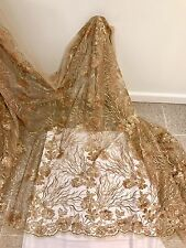 "GOLD STRETCH MESH W/GOLD SEQUIN EMBROIDERY LACE FABRIC 52"" WIDE 1 YARD"