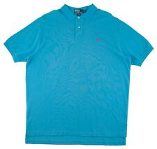 Men's POLO RALPH LAUREN RL Teal Cotton Red Pony Golf Polo Shirt XXL fits XL