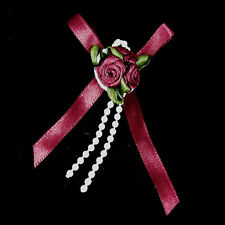 25 X Triple Trio Roses Satin Ribbon Bows With Pearls  - PINK RED PEACH CREAM